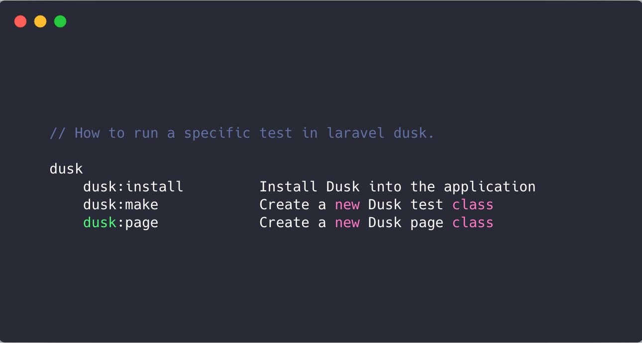 How to run a specific test in Laravel Dusk?
